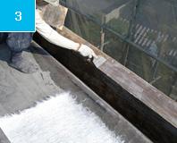 パテ処理 下地の凹凸部をパテ処理することにより、防水の密着性を高める。