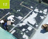 床面 パテ処理 樹脂モルタルで補修した部分や不陸部分をパテで調整。